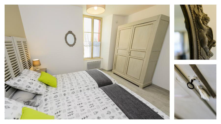 Première chambre du Logis de Villegruis, couleurs douces et literie confortable deux lits simples grande taille, décoration soignée, grande armoire