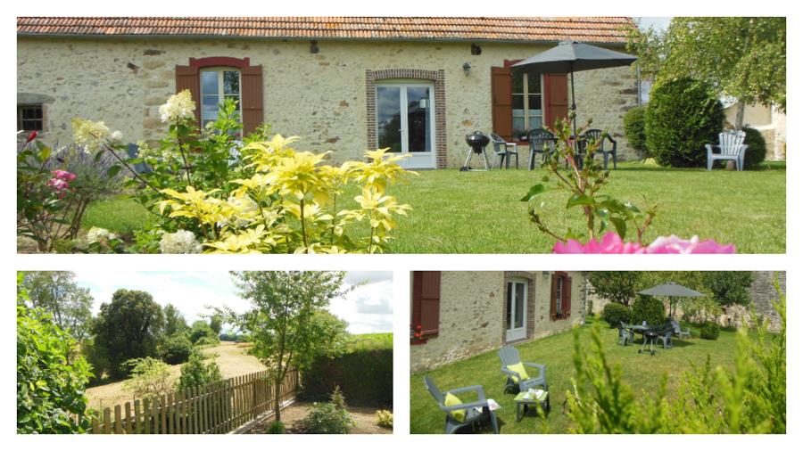 Logis de Villegruis : son jardin avec vue dégagée sur la campagne environnante, sans vis à vis, entièrement clos et arboré, pelouse, salon de jardin et de détente, barbecue et parasol